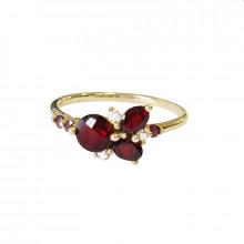Zlatý prsten, granáty a zirkony