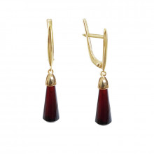 Zlaté náušnice, granát, gold earrings, garnet, золотые серьги, гранат