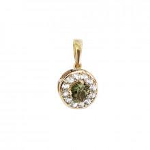 Gold pendant, moldavite,zircon