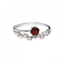 Stříbrný prsten, granát a zirkon