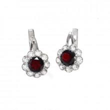Silver earrings, garnet, zircon