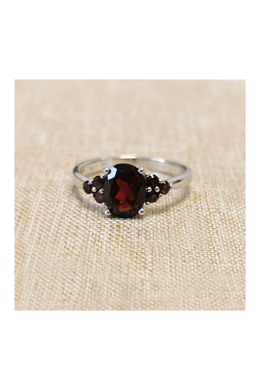 Silver ring with garnet