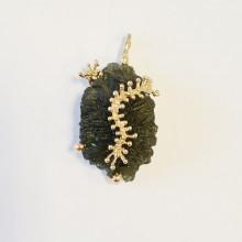 Gold pendant , nature moldavite