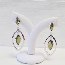 Silver earrings, zircon