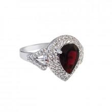 Prsten stříbrný, granát, zirkony