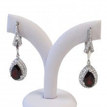 Silver earrings, garnet, zircon