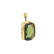 Gold pendant, moldavite