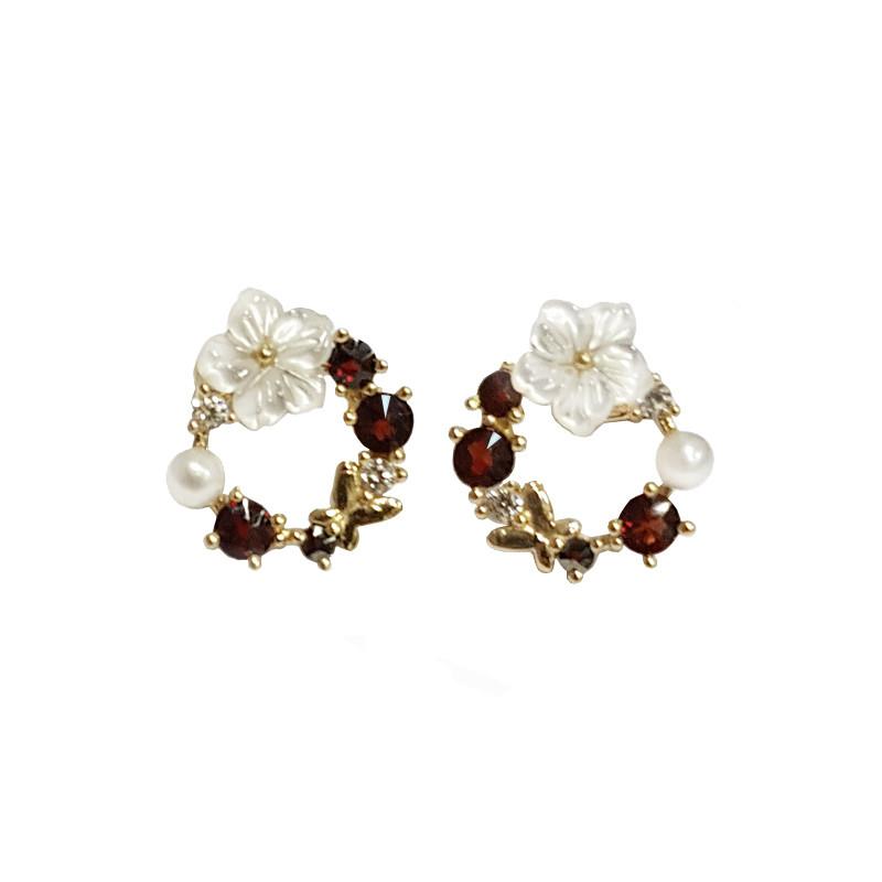 Gold earrings, garnet, zircons, pearls