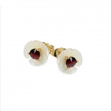 Gold earrings, garnet, zircons, pearls