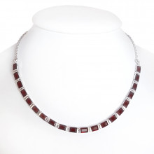 Silver necklace, garnet