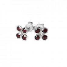 Silver earrings, garnet
