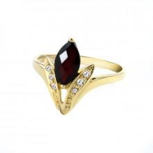 Gold ring,  garnet, zircon