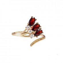 Prsten zlatý, granát a zirkony
