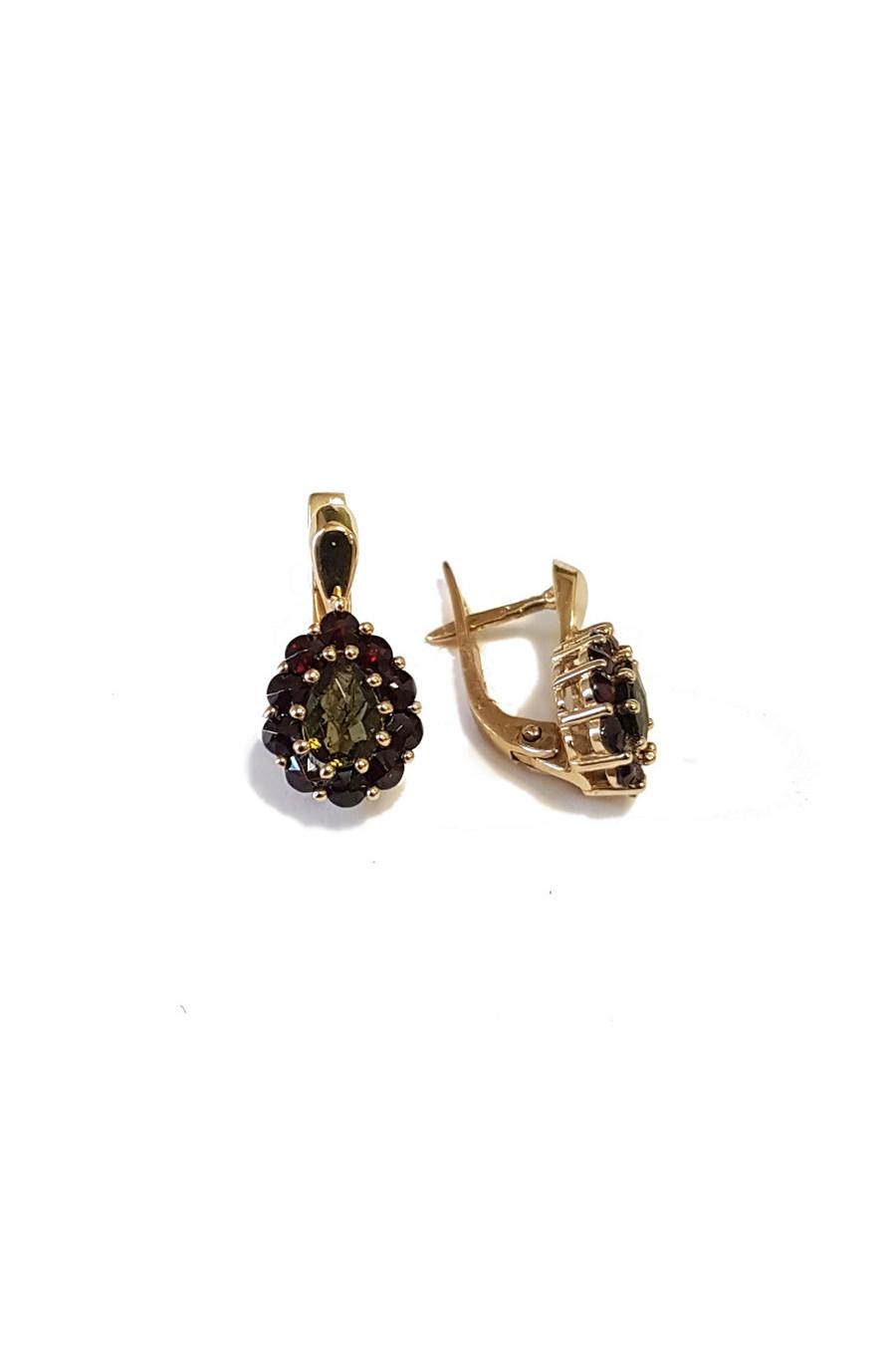 Gold earrings with garnet and moldavite