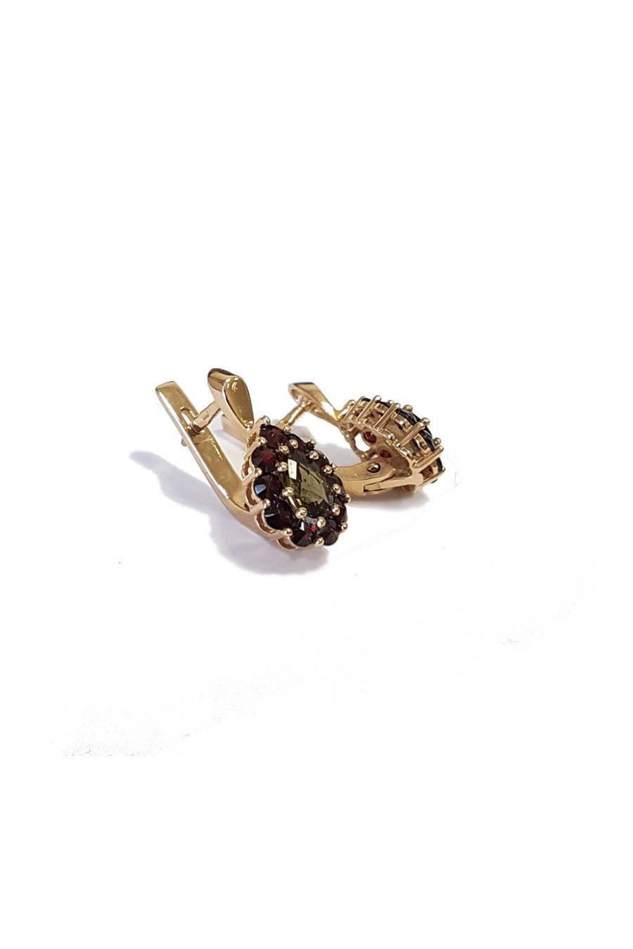 Zlaté náušnice s granátem a vltavínem