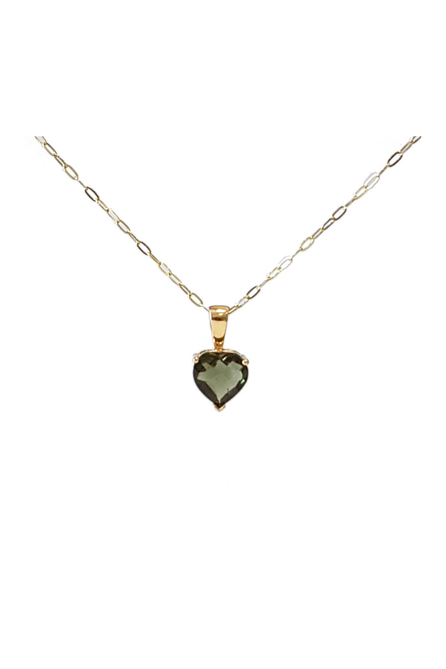 Gold pendant with moldavite