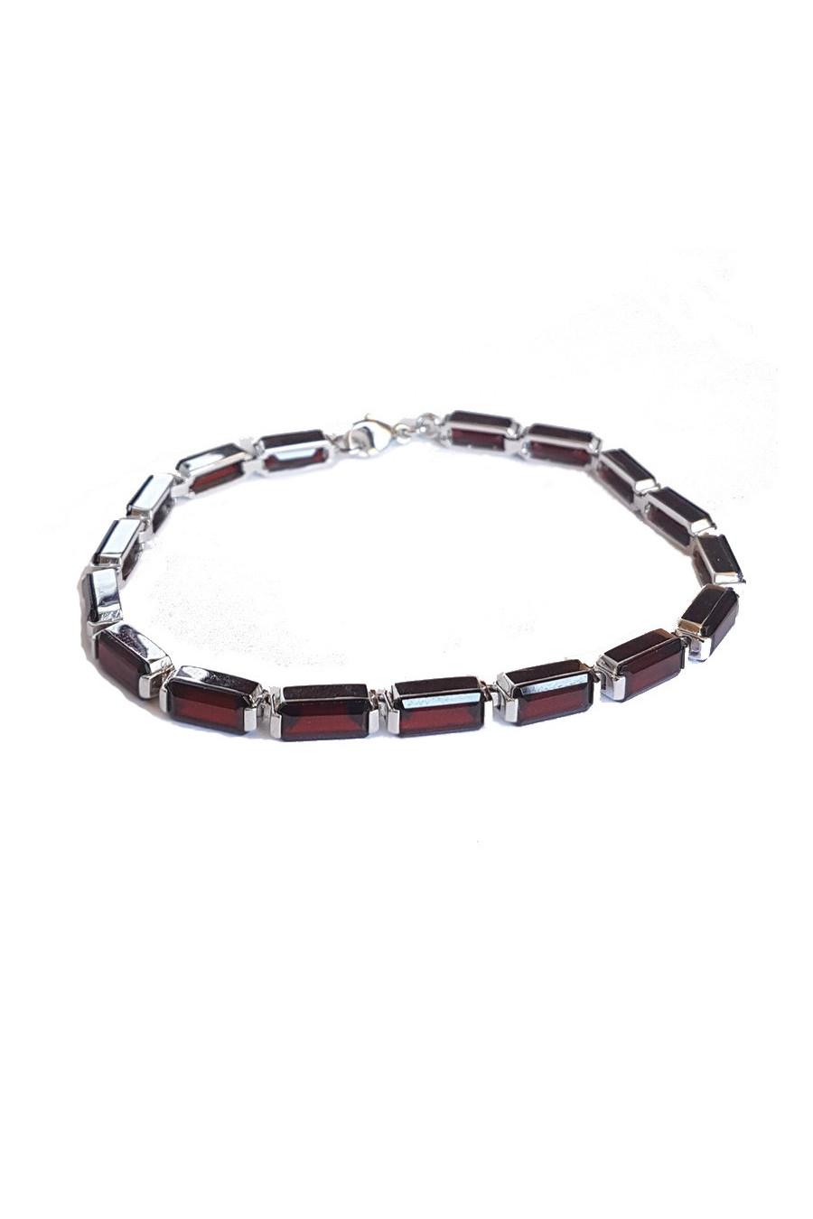 Stříbrný náramek s granátem, silver bracelet with garnet, серебряный браслет с гранатом