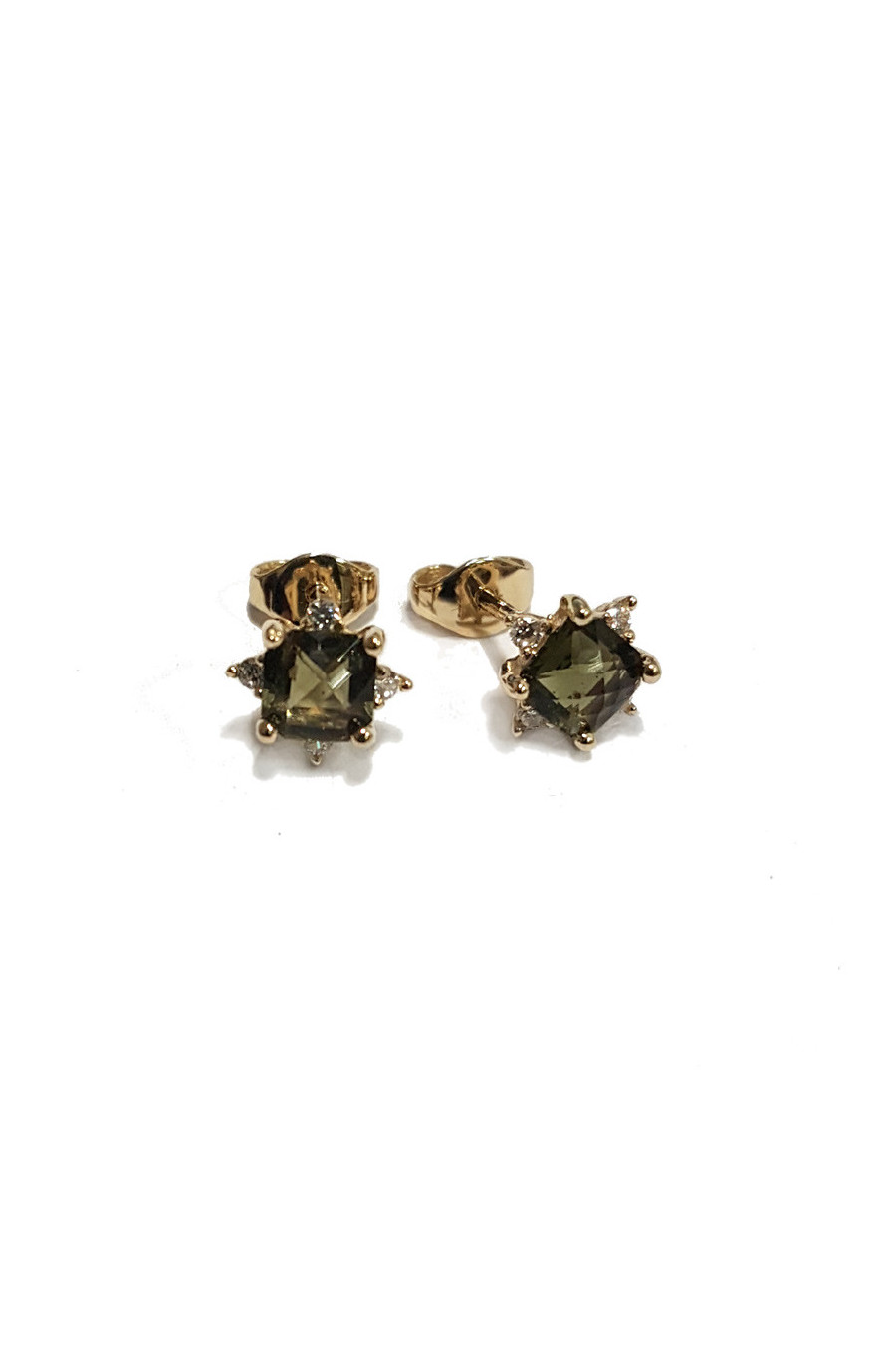 gold stud lock earrings, moldavite