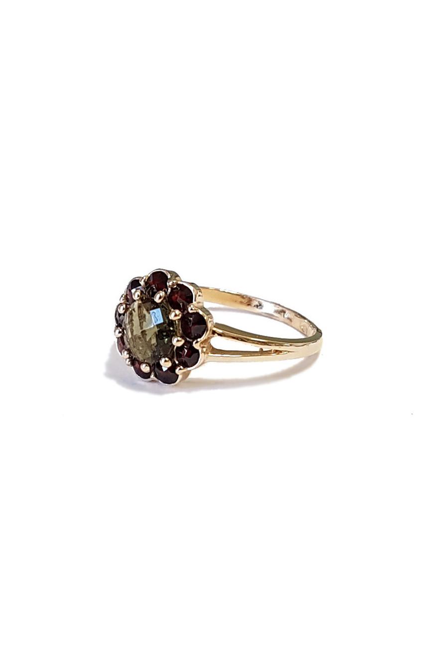 Золотое кольцо, гранат, влтавин , молдавит