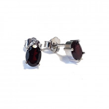 Silver earrings, garnet