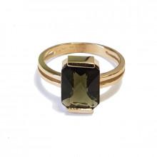 Золотое кольцо с влтавином