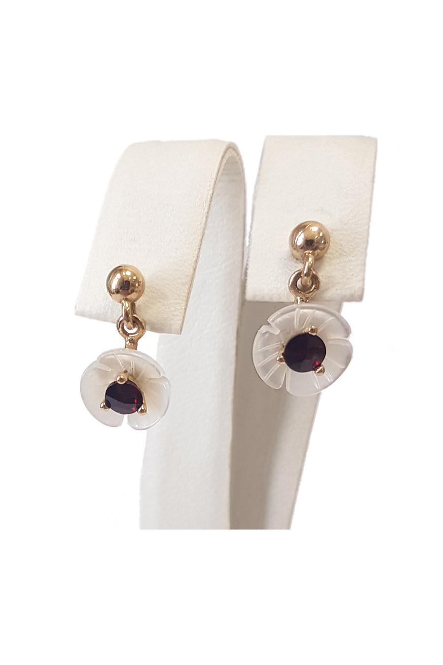 Gold earrings, garnet, mother of pearl