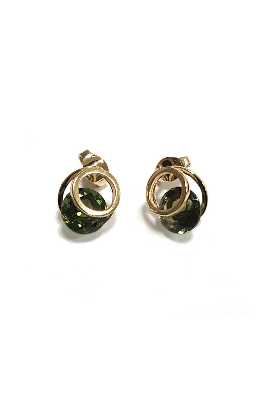 Gold earrings with moldavite