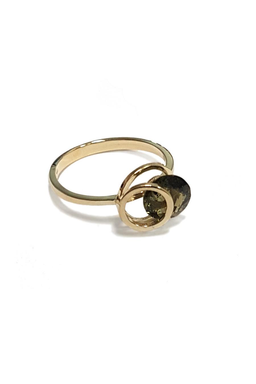 Gold ring with moldavite