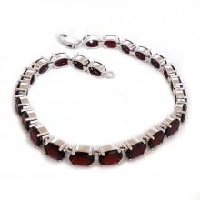 Silver bracelet, garnet
