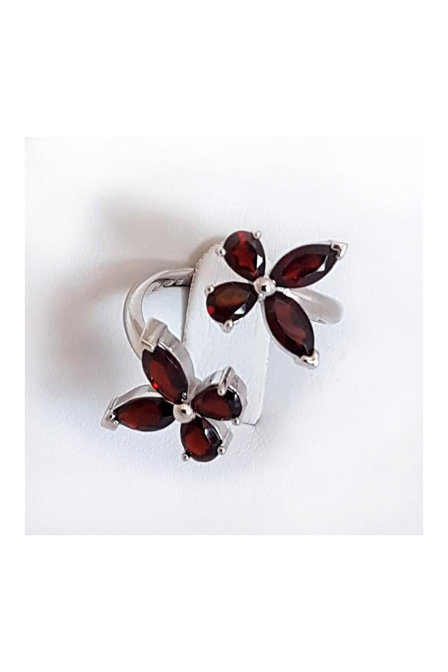 Silver ring, garnet butterflies