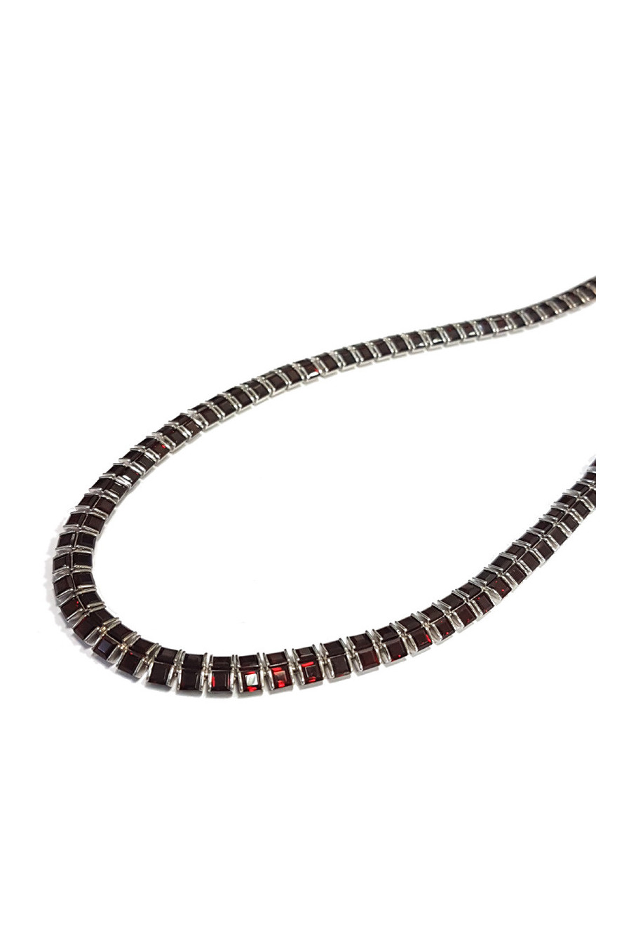 Sterling silver necklace with garnet
