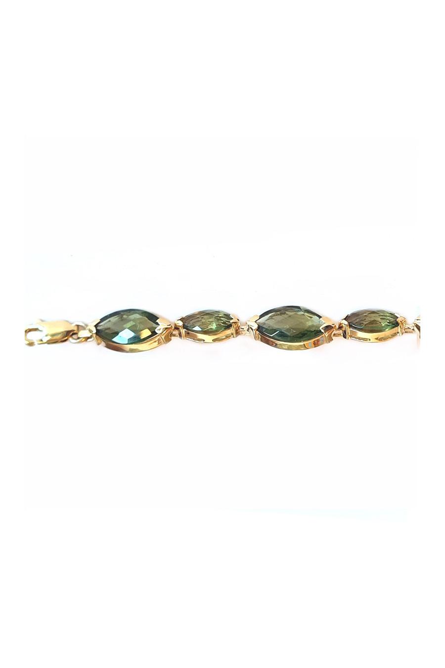 Gold bracelet, moldavite