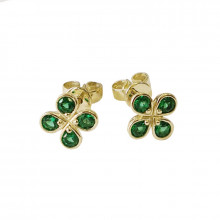 Gold earrings, zircon