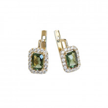 Gold earrings,moldavite,zircon