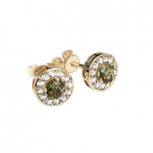 Gold earrings, moldavite, zircon