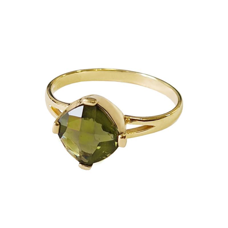 Gold ring, moldavite