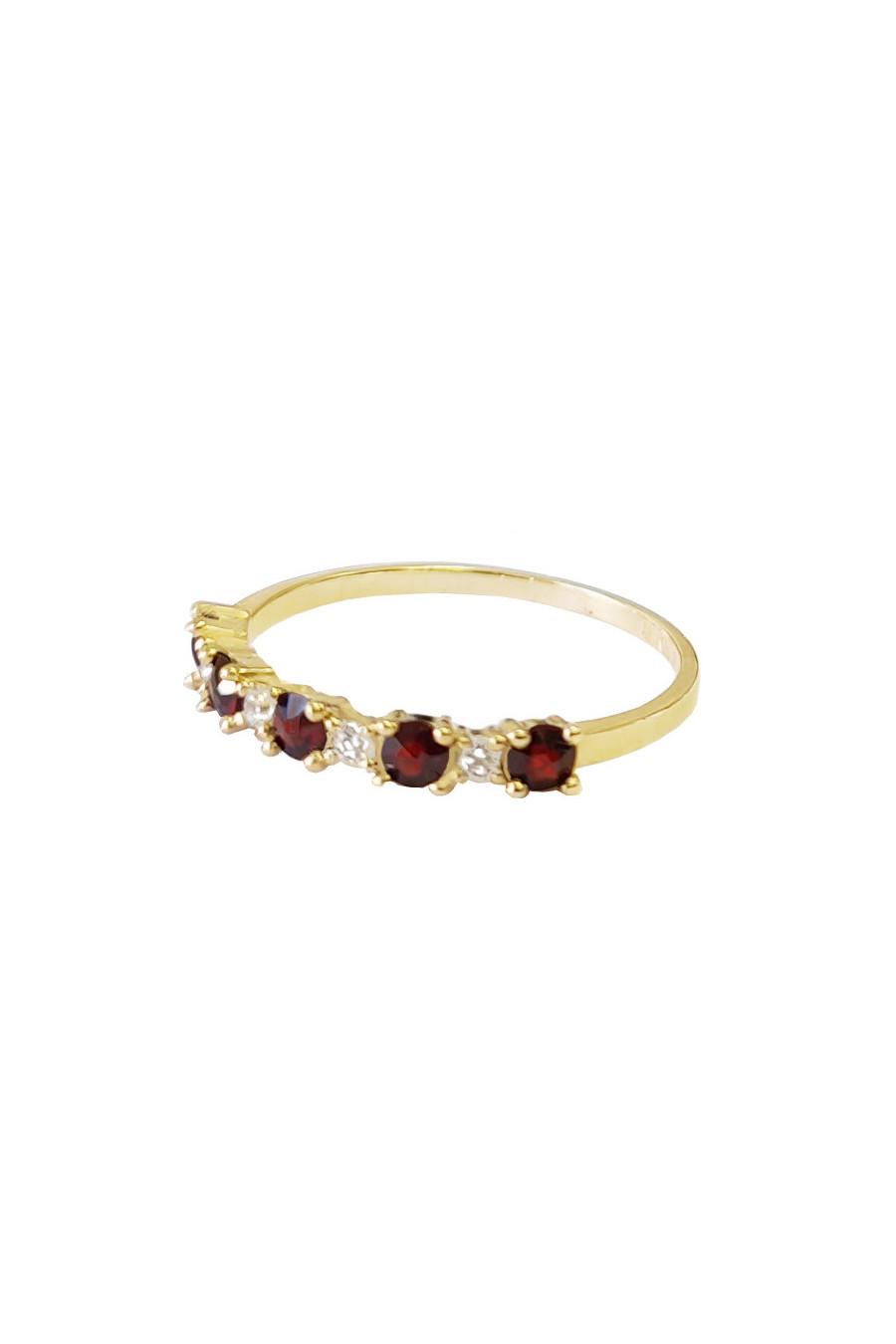 Кольцо золотое,  гранат, фианиты