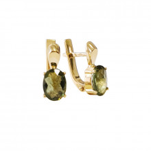 Gold earrings, moldavite