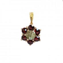 Gold pendant, garnet, moldavite