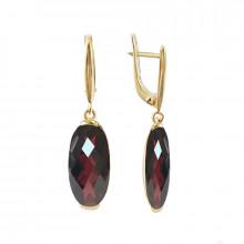 Gold earrings, garnet