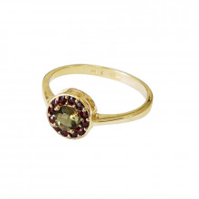 Gold ring, moldavite, garnets