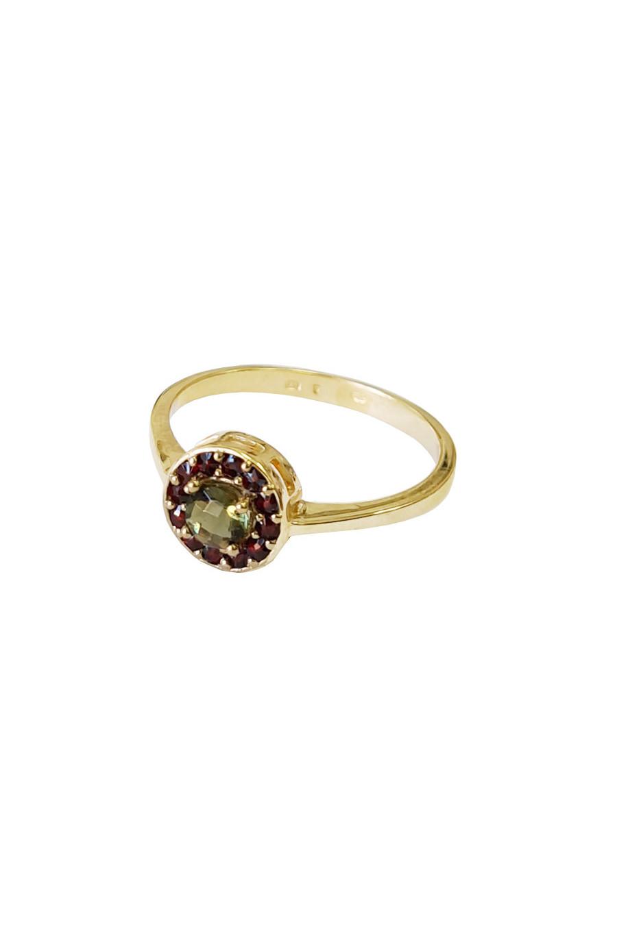 Gold ring, moldavite, garnets