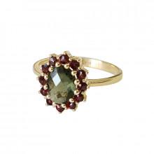 Gold ring, garnet, moldavite