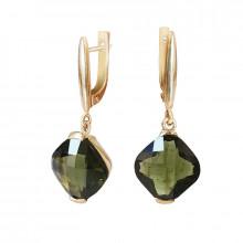 Gold earrings, moldavite